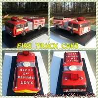Fire Truck Engine Cake With Matching Smash Cake Showing the top view 14.75 x 6.5 x 6.5