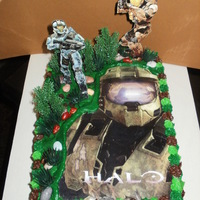 Video Game Cake This cake has alot of secrets. It was last minute and made for my brother. Tried to include things from the game that I have no idea about...