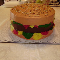 Giant Hamburger Cake This gigantic hamburger cake was made from one white cake mix-one quadruple chocolate fudge- and one pineapple upside down cake. Pineapple...