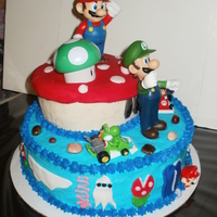 Super Mario Cake This cake set me back like crazy. Couldn't find anything to put on the cake so I decided to visit the local party supply store and...
