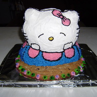 Kitty Cookie Cake For my friends birthday, she wanted a hello kitty cake but wanted it different than normal. A single recipe of chocolate chip cookie mix...