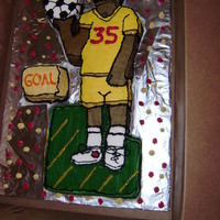 Soccer Dad Cake Best friends dad loves soccer so for his birthday I turned him into a cartoon character. Made from both chocolate and vanilla fudge cake-...