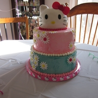 Hello Kitty Cake Hello Kitty Cake for a girl's 5th birthday. She picked out the colors for the frosting too!