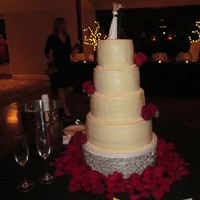 Buttercream Wedding Cake Bride wanted all buttercream. It was in the beginning of November but for some reason, the weather spiked to 60*. I posted about this cake...