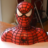 Spiderman For those who would like to know :) I started with a dummy head, and used fondant to build it out to look like his face, then covered it...