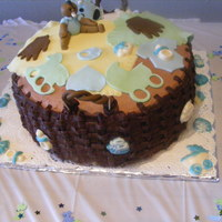 Shaynise Baby Shower Cake half vanilla/chocolate cake & butter cream.you can see white frosting & chocolate on top,that showed the different sides. My first...