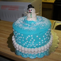 Snowman Cake   red velvet cake with a sky blue cream cheese icing. The snowballs around the base were done painted with pearl dust