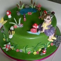 "Fairy Garden Cake This is a 9"" sponge with Jam and BC, it was my 1st attempt at a fairy and painting the face on with lustre dust and vodka and using..."