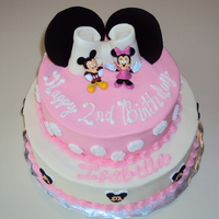 Minnie Mouse Cake HAPPY 2ND BIRTHDAY ISABELLATOP TIER WHITE CAKE WITH W/ STRAWBERRY FILLINGBOTTOM TIER CHOCOLATE CAKE W/ BUTTERCREAM FILLING