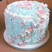 Mint And Coral Ruffle Cake With Flower Detail