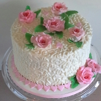"White And Pink Lace And Rose 8"" buttercream with fondant detail"