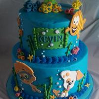 Bubble Guppies Birthday 6/8 tier buttercream with fondant detail.