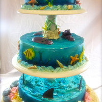 Underwater World Cake I made this cake for my kids joint birthday party. Coming up with a theme both my 7 year old daughter and 4 year old son liked took a while...