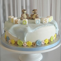Twin Boys Christening Cake I used the woven mat from Sugarveil to make the baby blanket, worked so well :)