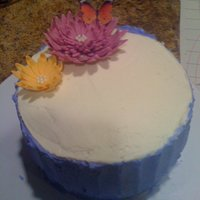 Blue Buttercream Cake   Topped it off with an edible butterfly and gumpaste flowers
