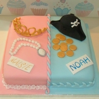 Princess And Pirate Cake   10 inch square vanilla cake decorated with fondant and gumpaste.