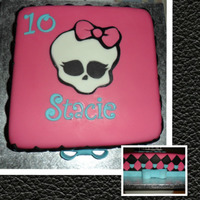 Monster High Cake   Chocolate cake with a marbled pink,purple and blue vanilla cake middle layer. Filled with bright pink vanilla butter cream.