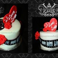 """i Love Lucy""(Tm) Film Reel Cake Edible images on a fondant film reel. fondant roses and heart topper."