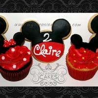 Mickey/minnie Cupcakes & Cookies   Mickey/Minnie inspired cupcakes and cookies. All decorations are from fondant.