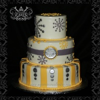 "40Th Birthday (Yellow & Gray)  Inspired by a photo found on Pinterest. 12-9-6"" tiers covered in MMF. All decorations are hand cut from MMF. Piped BC border on..."