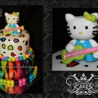 "Rock Star ""hello Kitty""(Tm) Inspired Birthday Cake   Hello Kitty (TM) made from fondant. Cakes covered in MMF and airbrushed /hand painted."