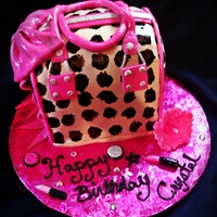 Leopard Purse Cake all fondant with bow, with fondant makeup