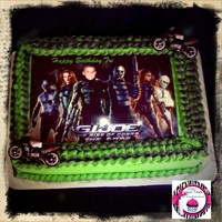 G.i.joe Cake from the movie, its a sheet cake all buttercream icing colors are green and blackedible image with toy motorcyles