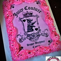 Juicy Couture Cake juicy couture sheet cake with edible image with pearl and brown sprinkles