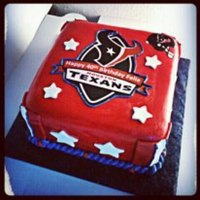 Houston Texans Cake *all fondant with edible image and fondant stars