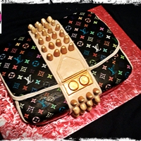 Louis Vuitton Purse Cake all fondant with edible lvs images, with edible gold paint
