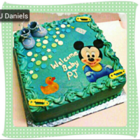 Babyshower Cake Baby Mickey Mouse a;; buttercream with fondant, edible image and keepsake shoes