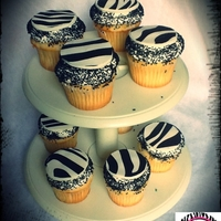 Zebra Cupcake edible zebra print on fondant with black sprinkles