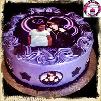 Justin Bieber Cake all buttercream icing, edible images, with disco dust