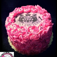 Rosette Juicy Couture Cake juicy couture edible image with rosette flowers