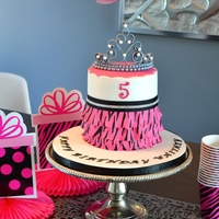 Tiara Cake Tiara cake made for my daughter. The tiara is fondant and the zebra stripes were painted on.