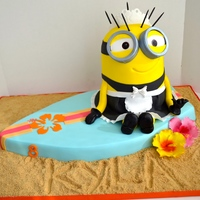Maid Minion Sitting On A Surfboard Cake For A Sweet Little Girl Whos Turning 8 Maid minion sitting on a surfboard cake, for a sweet little girl who's turning 8.