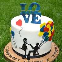 This Is The Cake I Made For A Surprise Engagement Cake The Soon To Be Groom Is Scottish And The Love Sign And One Balloon Is His Families This is the cake I made for a surprise engagement cake. The soon to be groom is Scottish and the love sign and one balloon is his families...
