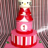 Hello Kitty Cake For Jhenna May Hello Kitty (in a kimono dress) themed 1st Birthday cake for little Jhenna May. Entire cake is yellow cake with top tier filled with...