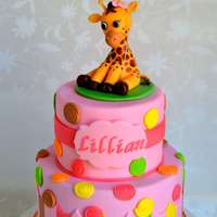 "Sweet At One Giraffe Cake This cake design was inspired by the ""Sweet at One"" party ware provided by the client"