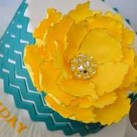 Chevron Teal And Flower Color scheme inspired by Pantone's 2013 colors - teal and lemon zest.
