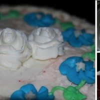 Rose Cake wilton course 1 class 4 cake. ita a res velvet cake with buttercream filling