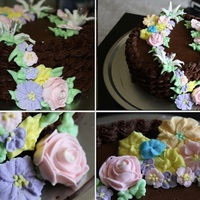 Chocolate Basket Weave Cake this is a white cake with raspberry filling.. royal icing fowers
