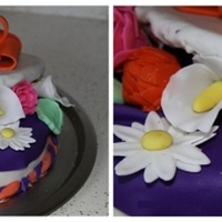 Open Gift Box Of Flowers this cake was made in wilton fondant class. I know its not perfect , got so many faults but feel nice to see that it was little out of box...