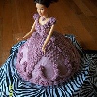 "Purple Princess all buttercream ""wonder mold"" cake with doll pick"
