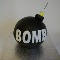 Bomb  Cake for an old tutor's son. He requested a 'cartoon bomb'. Madeira cake covered in fondant - and an indoor sparkler for the...