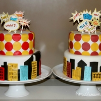 Comic Superhero Two cakes for two special superheroes! They had a superhero/comic book themed birthday party with cupcake toppers, banners and all the kids...
