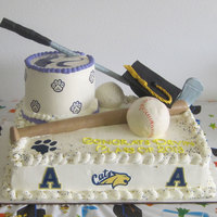 Devin Graduation  Balls made from rice crispy treats, covered with royal icing, then fondant. Golf club and bat made from gum paste. Edible images on sides...