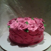 Happy Anniversary Rose Cake 2 Layer Chocolate Cake with Strawberry Filling and Strawberry Buttercream Icing.