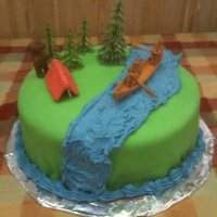 Camping Cake Fondant with buttercream river. The tent is made out of gumpaste... it's my first attempt EVER to work with it, so I definitely want...