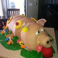 "Roast ""piggy"" For A Luau Porky is sour cream pound cake with pineapple buttercream."